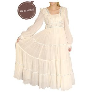 Gunne Sax Boho Wedding Dress, XXS Ivory/Blue, Prom